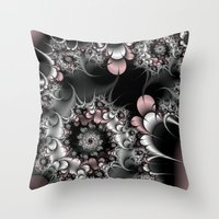 novelty Throw Pillows featuring Widow's Web Fractal by Moody Muse