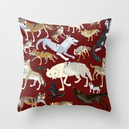 Wolves of the world Red Version Throw Pillow