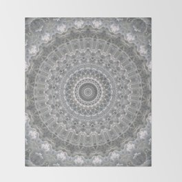 Mandala in white, grey and silver tones Throw Blanket