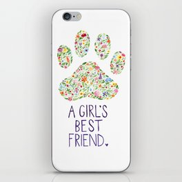 A Girl's Best Friend Floral Watercolor iPhone Skin