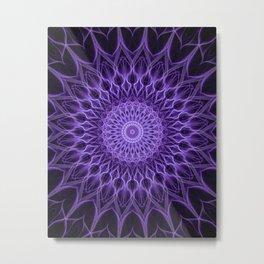 Ornamented mandala in violet tones Metal Print