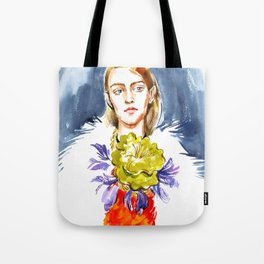 fashion #1. girl's portrait in a fur coat and a floral necklace around his neck Tote Bag