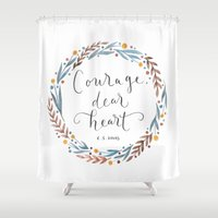 narnia Shower Curtains featuring Courage Dear Heart by IndigoEleven