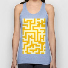 Cream Yellow and Amber Orange Labyrinth Unisex Tank Top