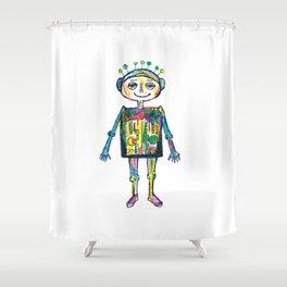 Little robot Shower Curtain