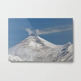 Top view of volcanic cone, fumaroles activity, steam and gas eruption from volcano crater Metal Print