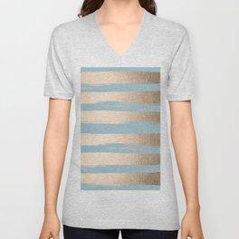 Painted Stripes Gold Tropical Ocean Sea Blue Unisex V-Neck