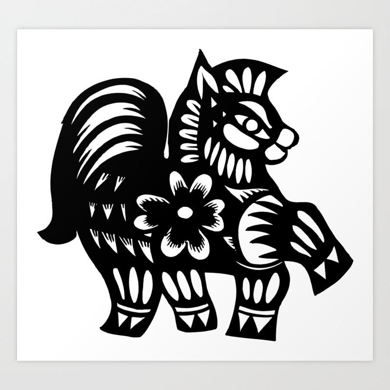 Horse Zodiac Paper Cutting Funny Nursery Cartoon Drawing Design Art Print By Themingdesigns Society6