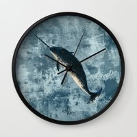 biology Wall Clocks featuring Jackson the Narwhal by Amber Marine