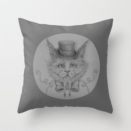 Fancy Cat with hat Throw Pillow