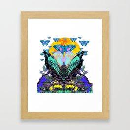 SURREAL BIRDS, BLUE BUTTERFLIES & GOLDEN MOON Framed Art Print