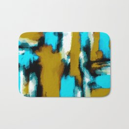 blue black and white painting texture with yellow background Bath Mat