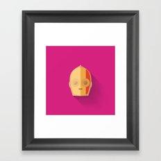 Red Stripped C3PO 2015 Flat Design Episode VII Framed Art Print