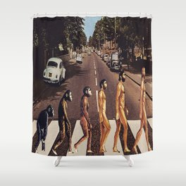 Why Did the Monkey Cross the Road? (Evolutionary Road) Shower Curtain