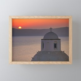 The sunset from Agios Minas in Fira which is the capital of Santorini island, Greece Framed Mini Art Print