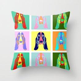 Basset Hound Dog Pop Art Throw Pillow