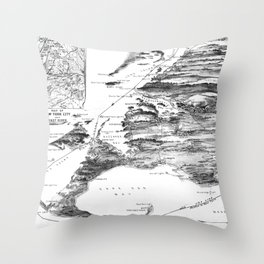 Vintage Cape Cod and NYC Steamboat Route Map BW Throw Pillow