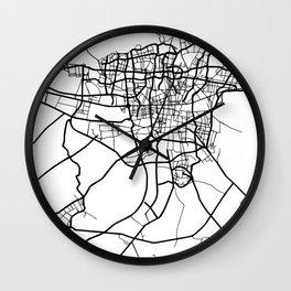 TEHRAN IRAN BLACK CITY STREET MAP ART Wall Clock