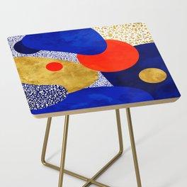 Terrazzo galaxy blue night yellow gold orange Side Table