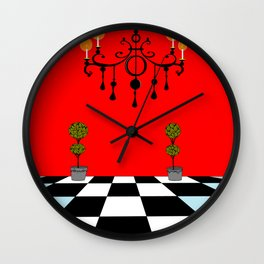A Chandler with Topiary with Red wall paper Wall Clock