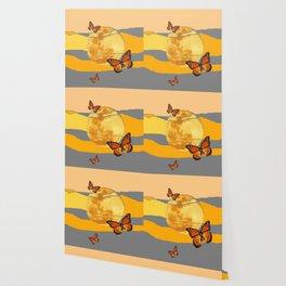 MOON & MONARCH BUTTERFLIES DESERT SKY ABSTRACT ART Wallpaper
