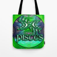 astrology Tote Bags featuring Pisces Zodiac Sign Astrology by CAP Artwork & Design