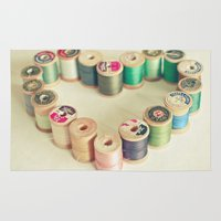 sewing Area & Throw Rugs featuring I Heart Sewing by Cassia Beck