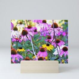 Yellow Flowers in the Purple Coneflower Garden Mini Art Print