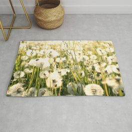 Field Of Dandelions Under The Morning Sun Rug