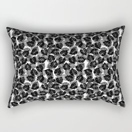 Black and White Monstera Tropical Leaf Rectangular Pillow