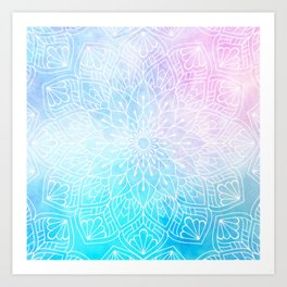 Watercolor White Mandala Illustration Pattern Art Print