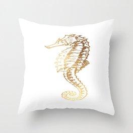 Gold Sea Horse Throw Pillow