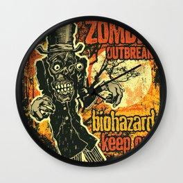 Zombi Biohazard Illustration Wall Clock