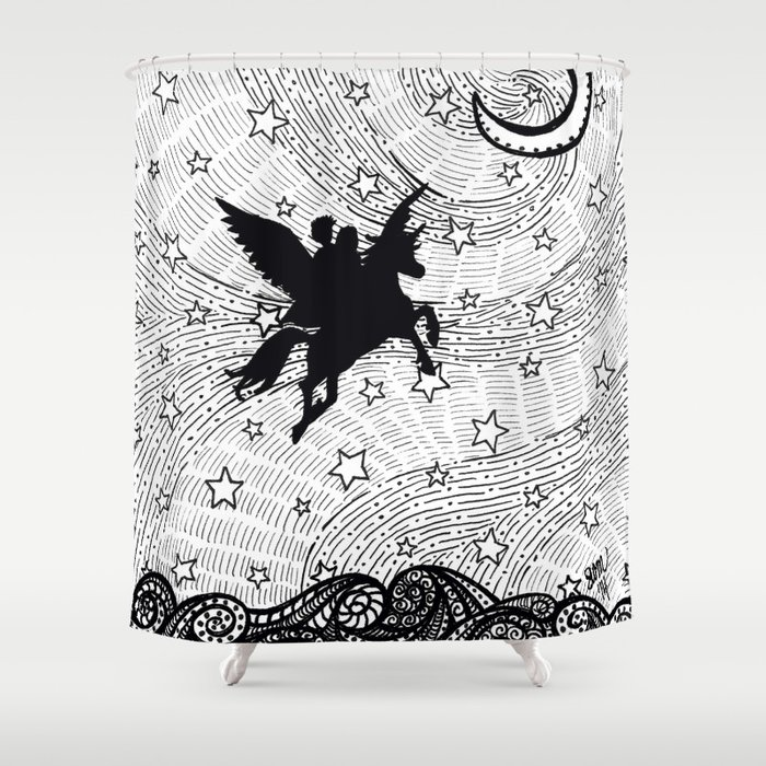 flight of the alicorn shower curtain by shannonmessenger society6