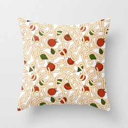 Spaghetti with tomato Throw Pillow