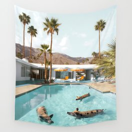 Pig Poolside Party Wall Tapestry