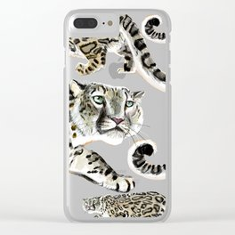 Snow Leopard in Pink Clear iPhone Case