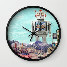 Robot in Town Wall Clock