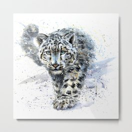 Watercolor Snow Leopard Metal Print