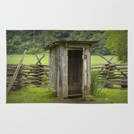Old Outhouse on a Farm in the Smokey Mountains Rug