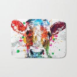 Cow Watercolor Grunge Bath Mat
