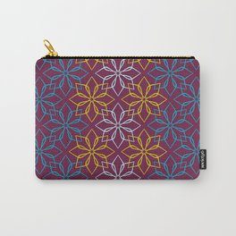 Geometric blue flowers pattern - colorful version. Carry-All Pouch