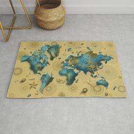 world map gold vintage decor Rug