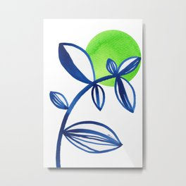 Blue and lime green minimalist leaves Metal Print