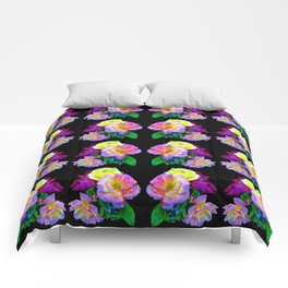 Rosa Yellow Roses on Black Pattern Comforters