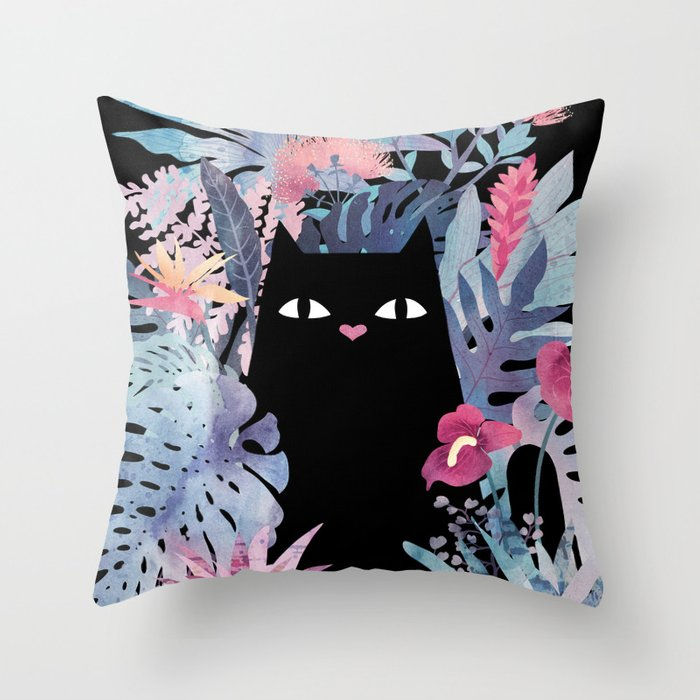 Popoki (Pastel Black Velvet) Throw Pillow