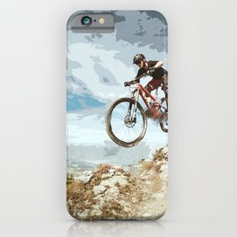 Flying Downhill on a Mountain Bike iPhone Case