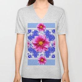 Abstracted Blue Art Fuchsia Dahlias Geometric Stylized Floral Unisex V-Neck