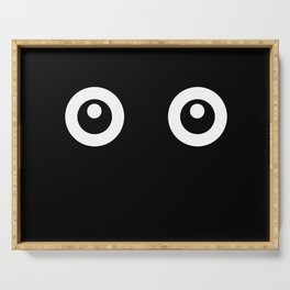Scared Cartoon Eyes in the Dark Serving Tray