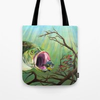 clueless Tote Bags featuring Large Mouth Bass and Clueless Blue Gill Fish by Sonya ann